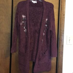 Mauve cardigan sweater/flowers embroidered on side
